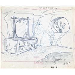 The Flintstones layout drawing of Fred in bedroom signed by Dick Bickenbach
