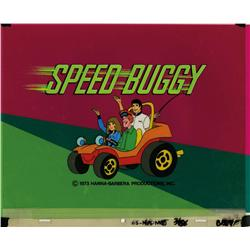 Original production main title final scene cel and production background from Speed Buggy
