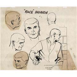 "Doug Wildey original ""Race"" Bannon model sheet from Jonny Quest"