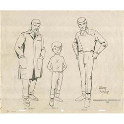 Doug Wildey original size comparison model sheet from Jonny Quest