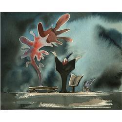 Yen Sid, the Sorcerer, original watercolor concept artwork from Fantasia