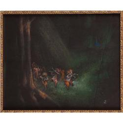 Fantasia Satyrs in forest pastel concept art