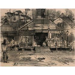Three Herbert Ryman Walt Disney World concept drawings for Liberty Square