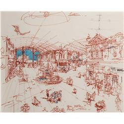 Herbert Ryman concept drawing of Main Street Arcade for Tokyo Disneyland