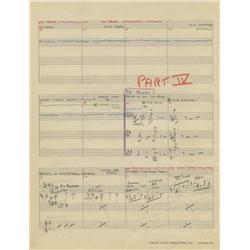 Original 29-pg manuscript score for Woody Woodpecker episode