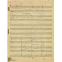 9-page manuscript score by James Dietrich for Oswald the Rabbit short, Night Life of the Bugs