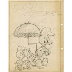 Original production drawing of Woody Woodpecker for comic book cover