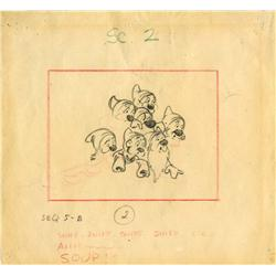Original production storyboard of the Seven Dwarfs from Snow White and the Seven Dwarfs