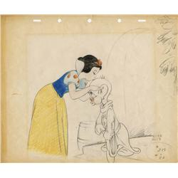 Original production layout drawing of Snow White and Dopey from Snow White and the Seven Dwarfs