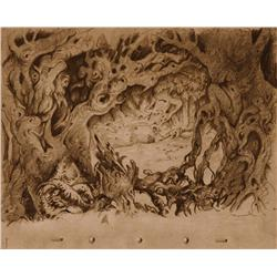 Snow White layout drawing by Ferdinand Horvath