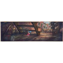 Original production background concept and model cel from An American Tail: Feivel Goes West