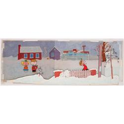Charlie Brown Christmas orig panoramic cel & orig production bkgrnd from A Charlie Brown Christmas