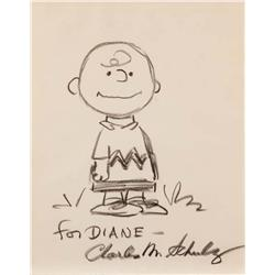 Charles Schulz original large drawing of Charlie Brown signed