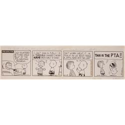 Original Charles Schulz Peanuts 4-panel comic strip artwork from 1963