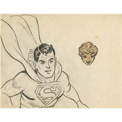 Original production drawings of Superman by Curt Swan