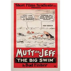 "The Big Swim 1926 one-sheet poster for ""Mutt & Jeff"" animated-short"