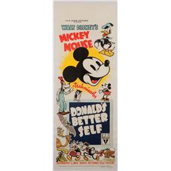Donald's Better Self 1937 Australian oversize daybill poster for Walt Disney animated-short
