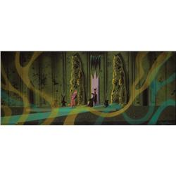 Eyvind Earle original concept painting ofPrince Philip in Maleficent's chambers from Sleeping Beauty