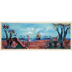 Mary Blair original concept painting of Peter Pan on beach w/ Lost Boys, Hook & Smee from Peter Pan