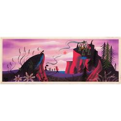 Mary Blair original concept painting of Peter Pan with captured Lost Boys from Peter Pan