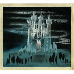 Mary Blair original concept painting of Cinderella's castle from Cinderella