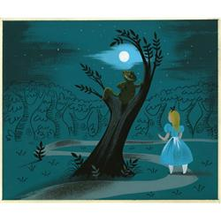 Mary Blair original concept painting of Alice and Cheshire Cat from Alice in Wonderland