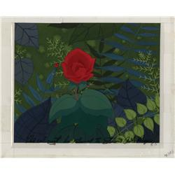 Alice in Wonderland Red Rose production cel on hand-prepared background