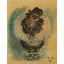 """Joe Grant original pastel artwork of hippo from """"Dance of the Hours"""" sequence of Fantasia, signed"""