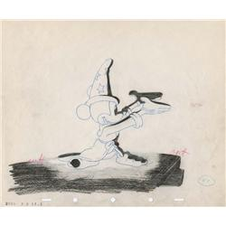 """""""The Sorcerer's Apprentice"""" orig prod drawing of Mickey from lightening on mtn sequence of Fantasia"""