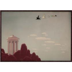 Fantasia production cel and original background of Pegasus family flying