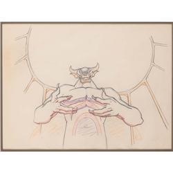 Fantasia Night on Bald Mountain production drawing of the Chernabog