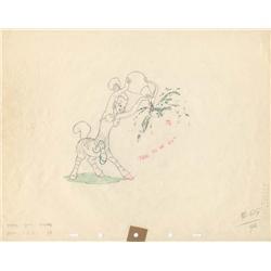 Nubian zebra girl original color production drawing from Fantasia