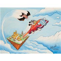 Original Floyd Gottfredson Mickey Mouse painting, Mickey Mouse on Sky Island