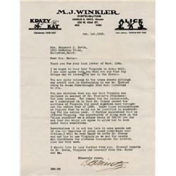 """Charles B. Mintz TLS regarding Virginia Davis, Walt Disney's """"Alice"""""""