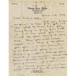 1924 Walt Disney hndwrtn letter to Mickey Mouse creator Ub Iwerks dscsng mv to CA to join his studio