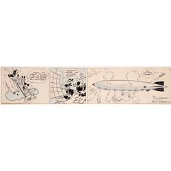 Floyd Gottfredson & Ted Thwaites Mickey Mouse The Mail Pilot daily comic strip original artwork 1933