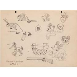 Original model sheet for Mickey Plays Papa