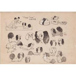 Original model sheet of Pluto and Fifi from Puppy Love