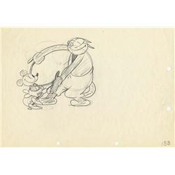 Rare Ub Iwerks production drawing of Minnie Mouse from The Barn Dance 1929