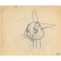 Original production drawing of Thumper from Bambi