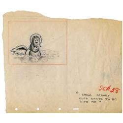 Flower original production layout/storyboard from Bambi