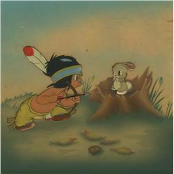 Little Hiawatha production cel and Courvoisier background 1937