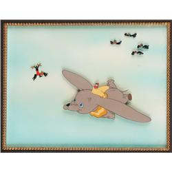 Production cel of Dumbo flying with Timothy and crows from Dumbo