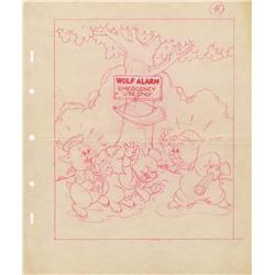 Three Little Wolves original Disney book art featuring three pigs