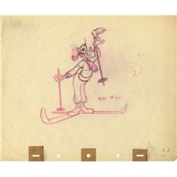 Original production layout drawing of Goofy on skis