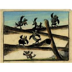 Original production color model drawing of Crows from Dumbo