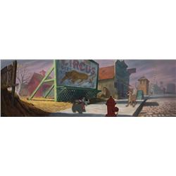 Original production cel and pan production background from Lady and the Tramp