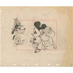 Mickey, Donald and Goofy layout drawing from Lonesome Ghosts
