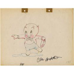 Original Cal Howard production drawing of Porky Pig from Old Glory signed