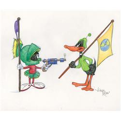 Daffy Duck and Marvin with Ray Gun original Virgil Ross drawing